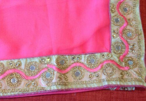 abbinata rosa indiano di con in berretto Bollywood Bello blusa chiffon TIxq15z