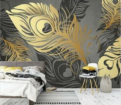 3d Peacock Feather B51 Wallpaper Wall Mural Removable Self Adhesive Sticker Zoe Ebay
