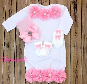 NEWBORN GIRL Gown with Pink Rosettes Beanie Hat with Bow plus Socks and Mittens