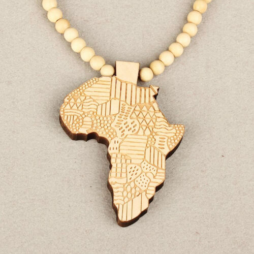 Men Women Africa Map Wooden Piece Wood Rosary Bead Pendant Necklace Punk Hot