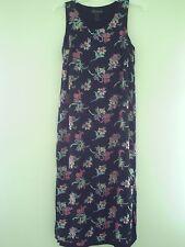 POMPONIX Women's 12 Black Floral Stretch Casual Tea Dress Carier