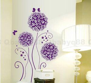 Image Is Loading Purple Dandelion Flower Tree Butterfly Wall Decals Art