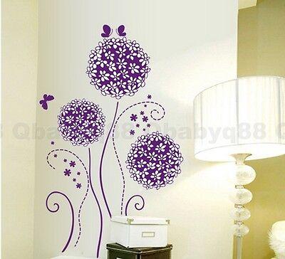 Purple Dandelion Flower Tree Butterfly Wall Decals Art Removable Stickers Decor