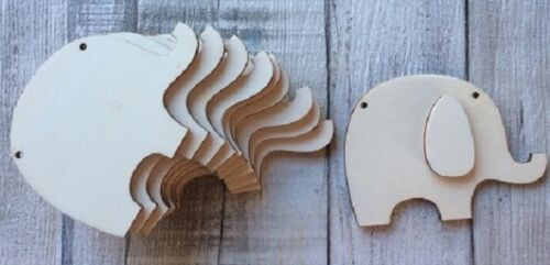 Pack of ten laser cut wood elephants ideal baby naming party// baby shower gift