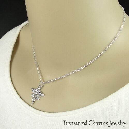 Silver RN Caduceus Charm Necklace Registered Nurse Symbol Pendant Jewelry NEW