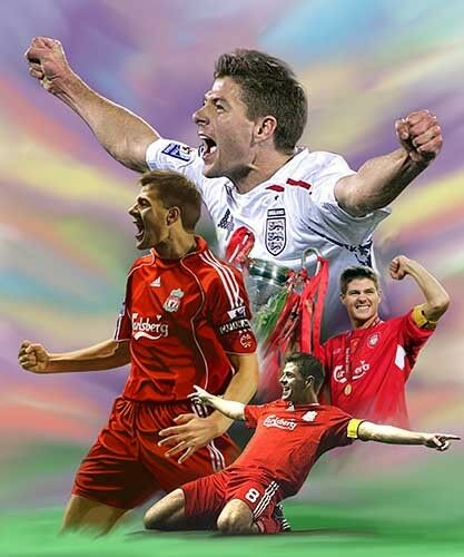 giclee print on canvas poster painting for autograph  B-0055 Steven Gerrard