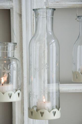 Madleys Windlicht groß Glaswindlicht Kerzenglas Hängewindlicht Shabby Chic