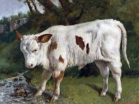 White Veal Farm G. Courbet Tile Mural Kitchen Wall Backsplash Art Marble Ceramic