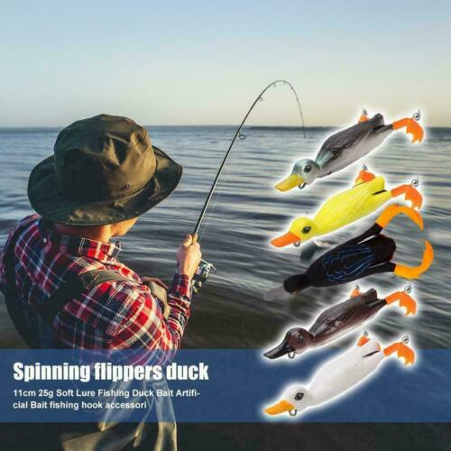 Fishing Soft Artificial Bait Duck Shape 360° Rotary Fins Sharp Lure Hook