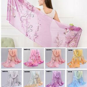 US-Retro-Women-Floral-Long-Chiffon-Scarf-Wrap-Large-Silk-Shawl-Stole-Scarf