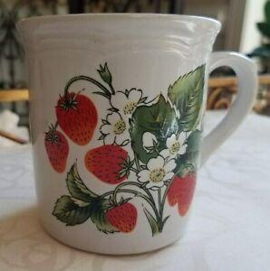 Vtg Strawberry Bloom And Red Fruit Coffe Tea Mug Farm House Kitchen Decor Japan Ebay