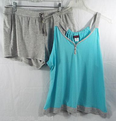 Women's Sleepwear Lounge Sleeveless Shirt & Shorts  Grey Aqua in Large (L)