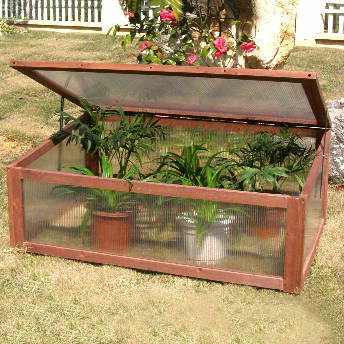 Mini Greenhouse Cold Frame Raised Garden Bed Plants Cover Portable