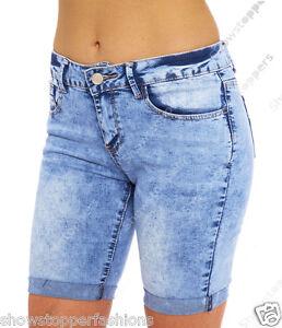 e99e63458 Mujer Denim Azul Pantalones Cortos Largo Hasta La Rodilla Con vuelta ...