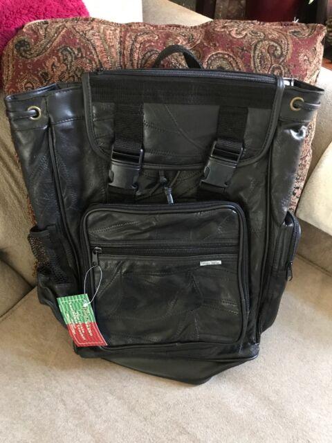 b453510073fd Maxam® Italian Mosaic™ Design Genuine Lambskin Leather Backpack BookBag  BlackNEW