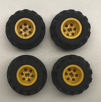 Lego 43.2x28 S Technic Wheels LOT OF 4 Tires Black Balloon Tires Gray RIMS