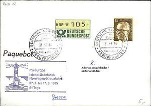 105-Pf-ATM-Werte-auf-Schiffspost-Brief-Eilzustellung-Ship-Schiff-MS-EUROPA-1985