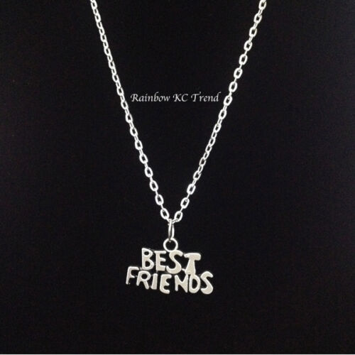 Best Friends Silver Charm Pendant On A Link Necklace Chain 2 x Necklaces