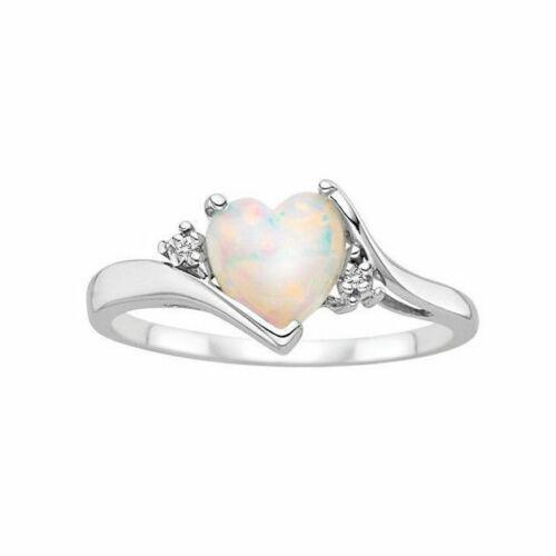 Feu de Mariage Cœur Taille Anneau Argent Femme Bijoux Fiançailles 6-10 Opal