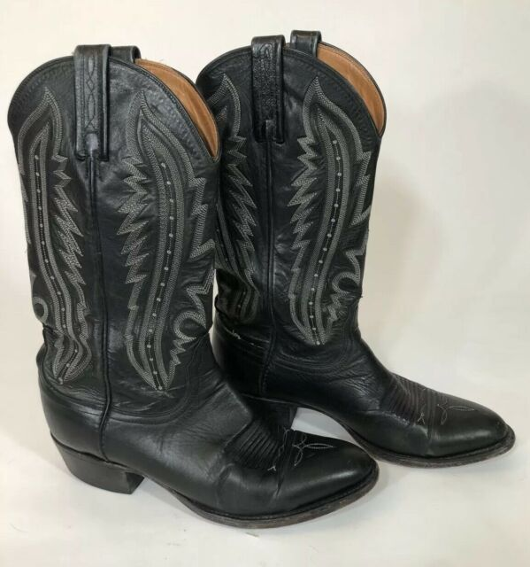 b448249446c Lucchese 2000 Black Leather Cowboy Western Boots Mens 8D T3010R4