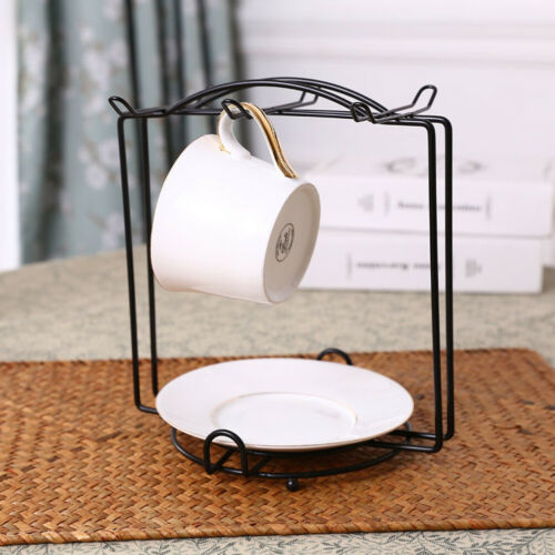 Coffee Mug Cup Holder Cup and Plate Stand Rack with Hooks for Large Mug