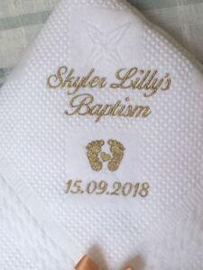 Personalised christening shawl COTTON POP ON  BIB DOVES Design in white