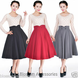 RK101-Full-Circle-Retro-Work-Flared-Skirt-Pin-Up-Mod-Rockabilly-50s-Swing-Dance
