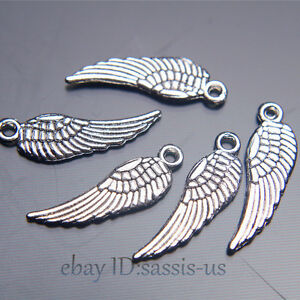 200pcs-17mm-Charms-Angel-Wing-pendant-DIY-Jewelry-Making-Bail-Tibet-Silver-A7025