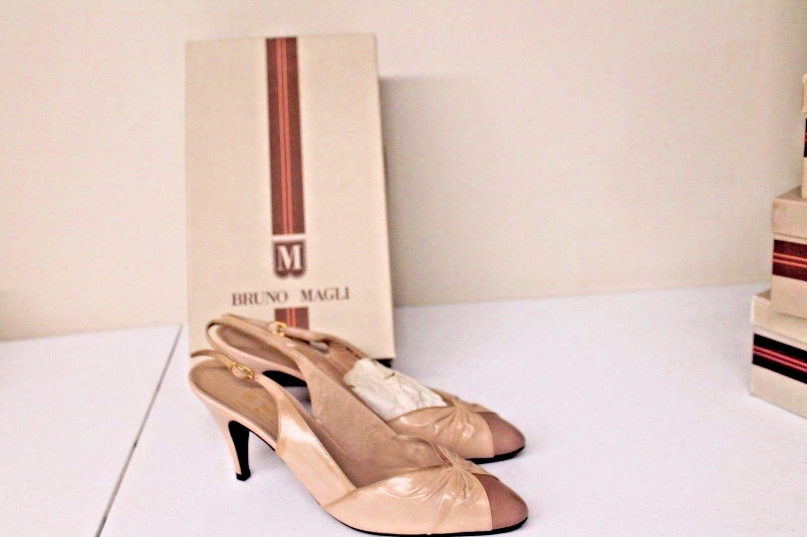 Womens 8.5 AAAA Bruno Magli Sand Leather Open toe Heels Pumps