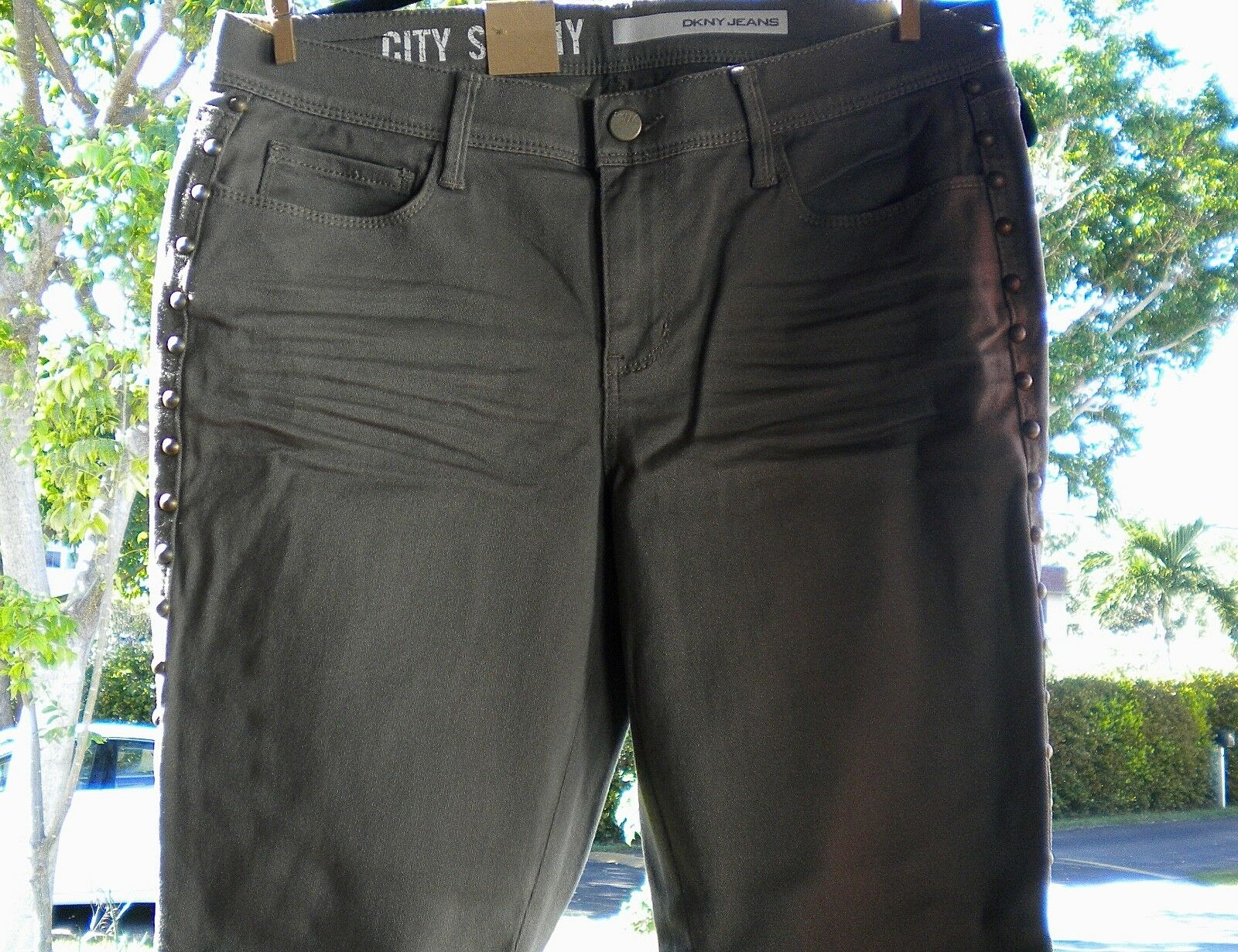 DKNY.Studs,Cottton Blend, Distress, Skinny Cropped, Military Jeans.U.S.10. 89.00