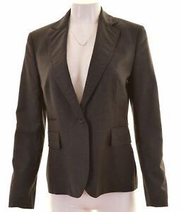 Austin Reed Womens 1 Button Blazer Jacket Size 12 Medium Grey Wool Gt09 Ebay