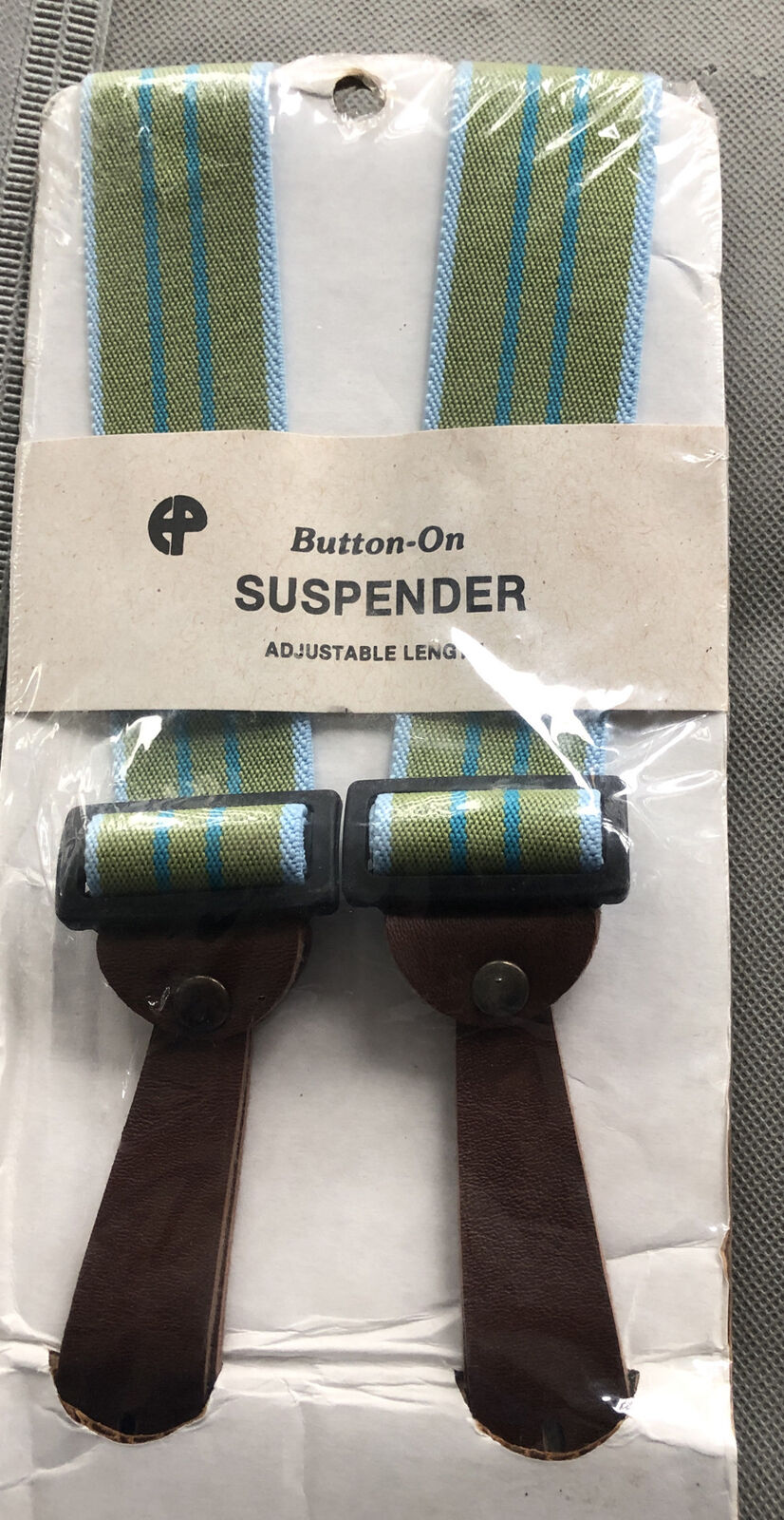 VTG Green And Blue Striped Leather Button-On Suspenders NEW IN PACKAGE Chil