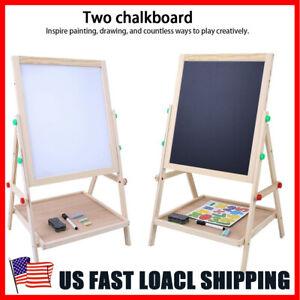 Wooden-Kids-Easel-Art-Children-Whiteboard-amp-Blackboard-Stand-Chalk-Drawing-Board