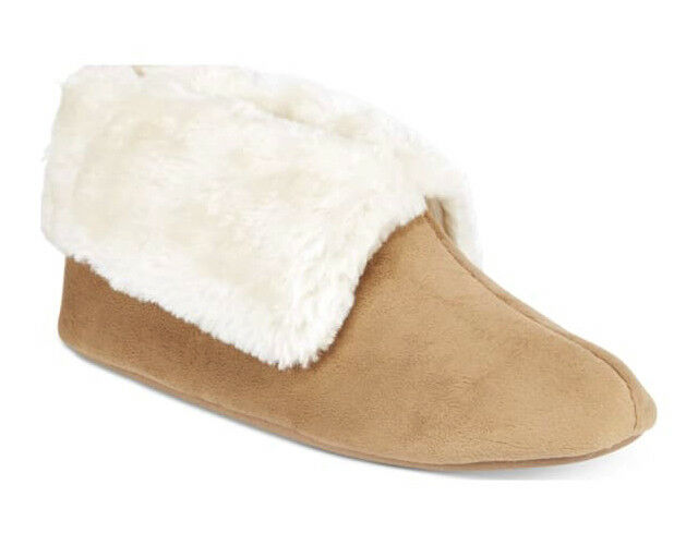NWT Charter Club Tan Microvelour Memory Foam Bootie Slippers Booties XL