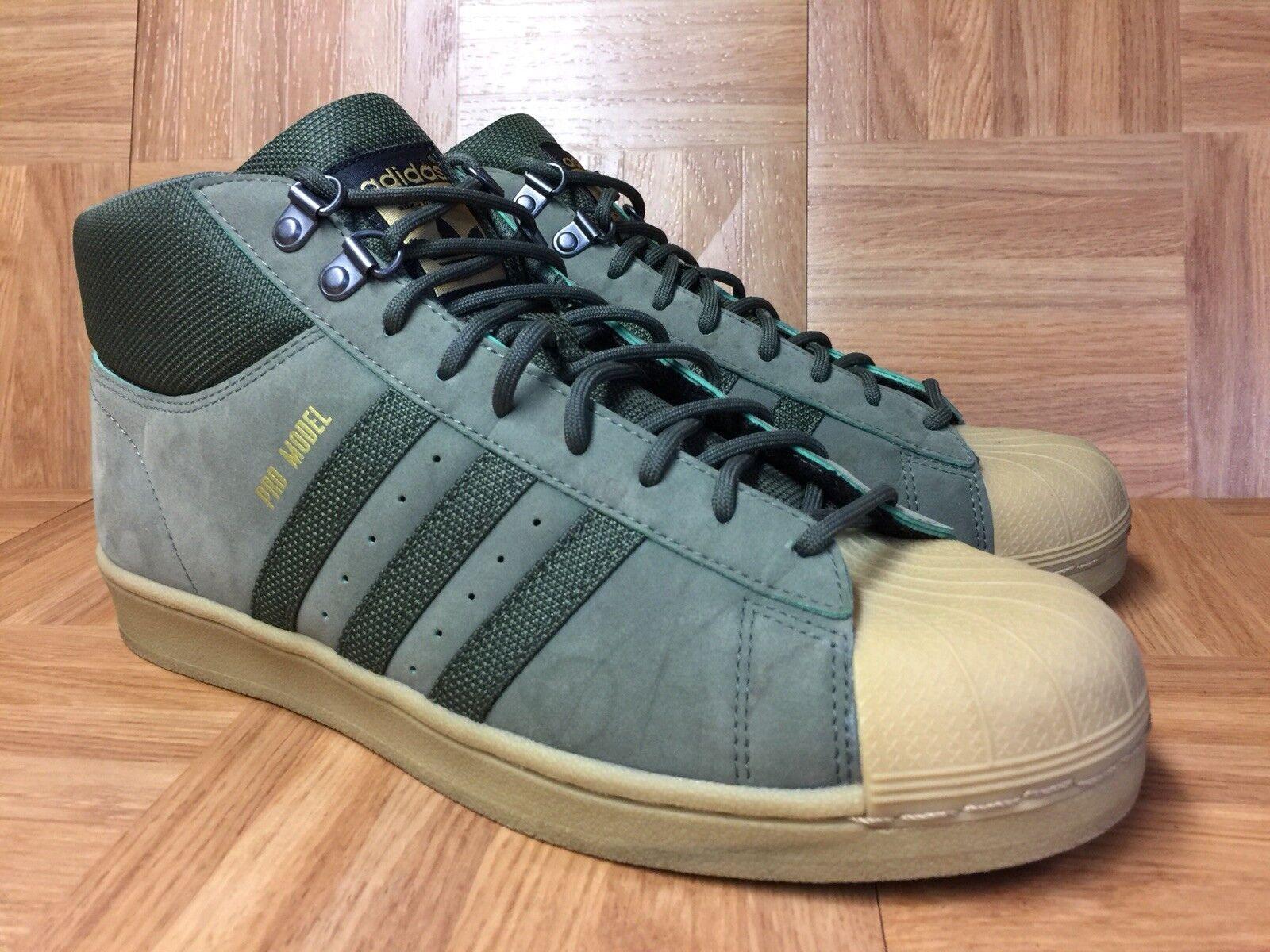 RARE Adidas Originals PRO MODEL Khaki Army Green Base Sz 9 Men's Sneakers LE