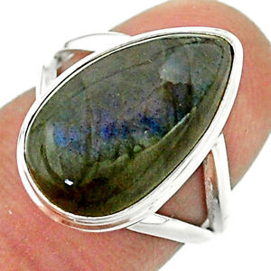 925 Silver 8.22cts Solitaire Natural Labradorite Spectrolite Ring Size 6 T41718