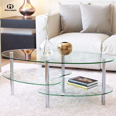 Modern Glass Oval Side Coffee Table Shelf Chrome Base Living Room Furniture