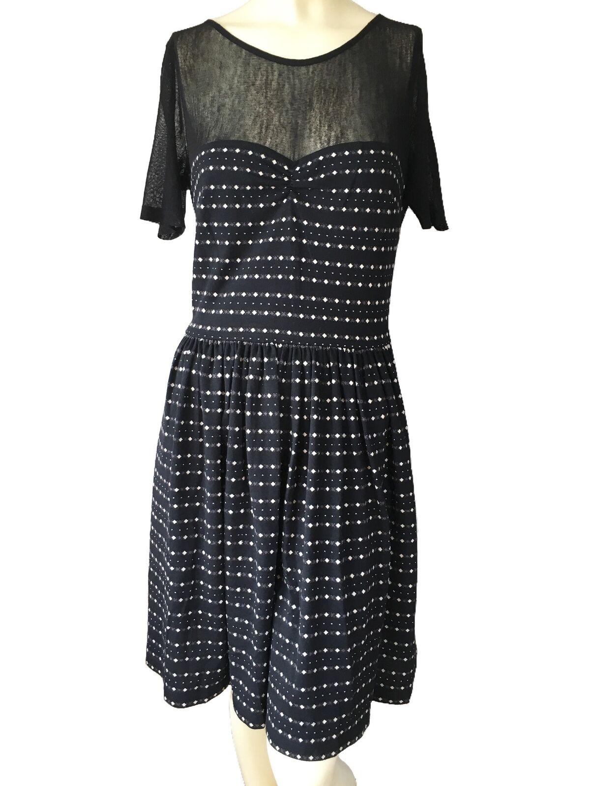 Betsey Johnson Mesh Bodice V-Neck Back Fit & Flare Metallic Print Dress Sz 4 12