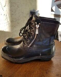 HUNTER Corwin Black Rubber & Leather Duck Outdoor Rain Boots 10 women's    eBay