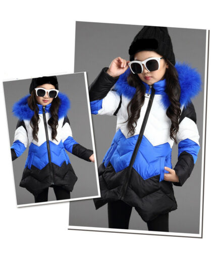 Winter Girls Kids Parka Cotton Padded Long Mix-color Jacket Fur Hooded Warm Coat