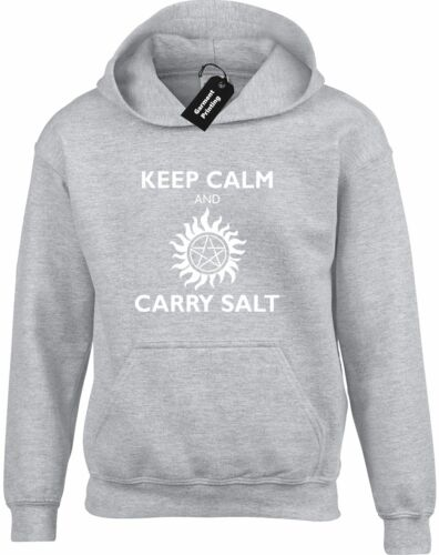 KEEP CALM AND CARRY SALT HOODY HOODIE SUPERNATURAL WINCHESTER CASTIEL BROTHERS