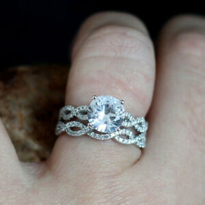 2.70 Ct Round Real Moissanite Engagement Band Set Solid 18K White Gold Size 5 6