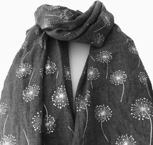 Dark Grey Dandelion Ladies Scarf Metalic Glitter Silver Printed Foil Print Wrap