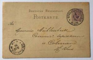 Dt-Reich-Ganzsache-5-Pfennig-Strassburg-nach-Colmar-1879