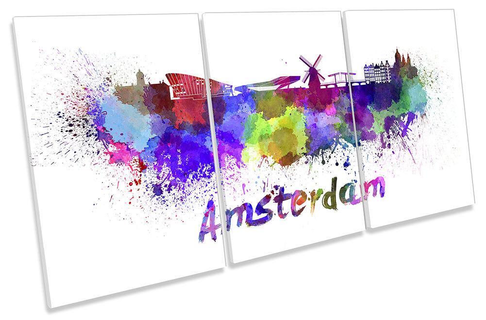 Amsterdam Watercolour Skyline Framed CANVAS PRINT TREBLE Wall Art