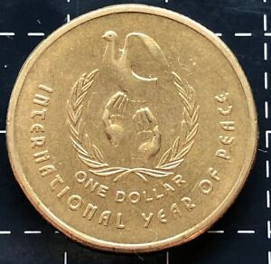 Australia 1986-1 Dollar Aluminum-Bronze Coin #3 International Year of Peace