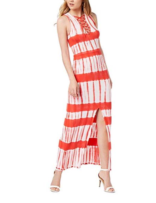 Material Girl Maxi Vestido Juniors Impreso Con Cordones Rojo blancooo  Tie-Dye mujeres Elastizadas  Tu satisfacción es nuestro objetivo