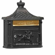 Vintage Wall Mount Mail Box Letters Slot Black Rural Antique Style European Post