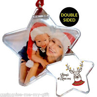 PERSONALISED PHOTO CHRISTMAS BAUBLE | *SECONDS*  ADD NAME |  TREE DECORATION 3