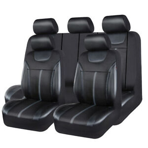Universal-Car-Seat-Cover-Leather-Mesh-Black-Grey-Airbag-Compatible-For-SUV-Sedan